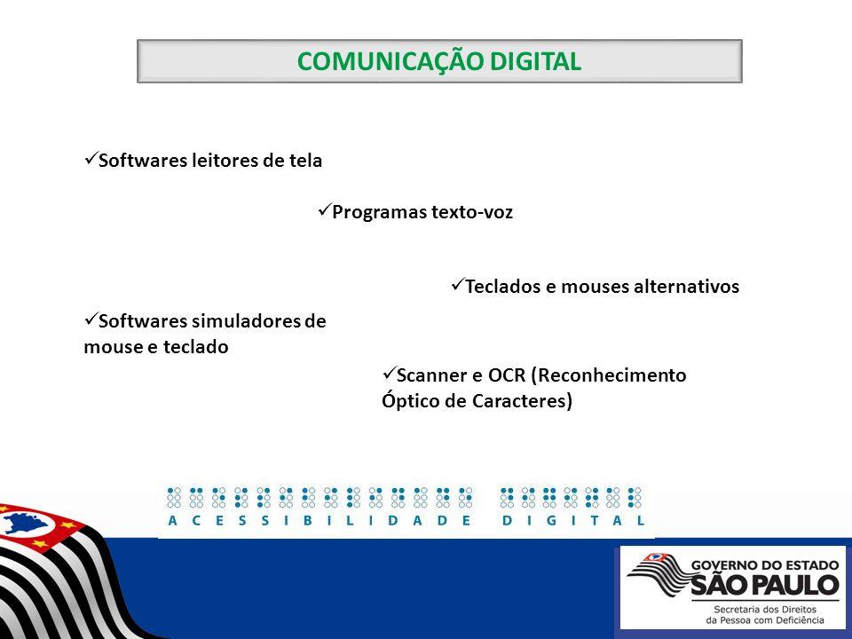 COMUNICAÇÃO DIGITAL Softwares leitores de tela Programas texto-voz Teclados e mouses alternativos Softwares simuladores de mouse e teclado Scanner e O