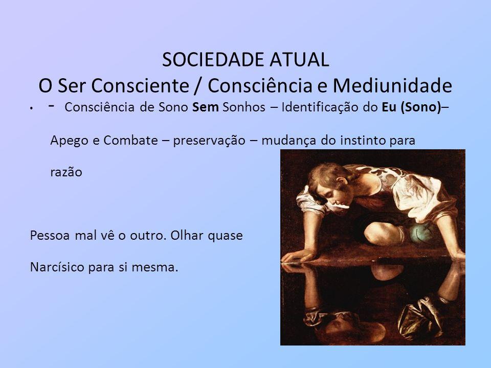 SOCIEDADE ATUAL O Ser Consciente / Consciência e Mediunidade - Consciência de Sono Sem Sonhos – Identificação do Eu (Sono)– Apego e Combate – preserva