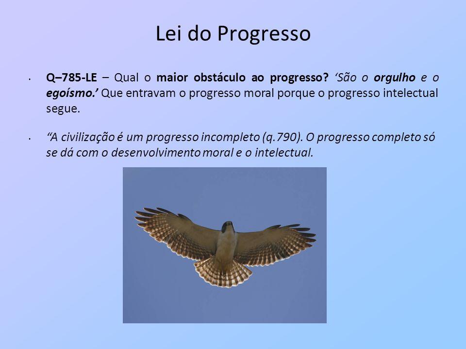 Lei do Progresso Q–785-LE – Qual o maior obstáculo ao progresso? São o orgulho e o egoísmo. Que entravam o progresso moral porque o progresso intelect