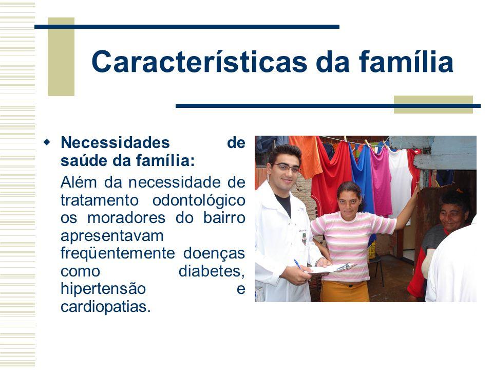 Características da família Foram visitadas oito famílias, na maioria da população foi encontrada uma condição bucal precária e notou-se que a busca po