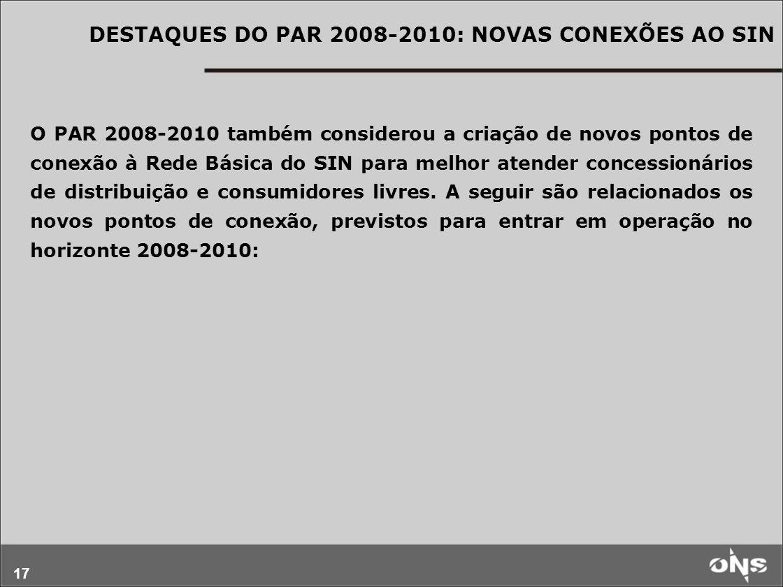 17 O PAR 2008-2010 também considerou a criação de novos pontos de conexão à Rede Básica do SIN para melhor atender concessionários de distribuição e c