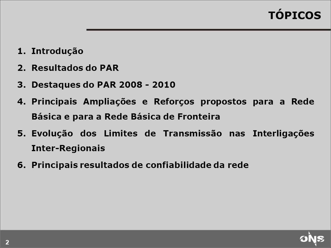 2 TÓPICOS 1.Introdução 2.Resultados do PAR 3.Destaques do PAR 2008 - 2010 4.Principais Ampliações e Reforços propostos para a Rede Básica e para a Rede Básica de Fronteira 5.Evolução dos Limites de Transmissão nas Interligações Inter-Regionais 6.Principais resultados de confiabilidade da rede