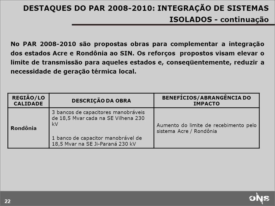 22 No PAR 2008-2010 são propostas obras para complementar a integração dos estados Acre e Rondônia ao SIN. Os reforços propostos visam elevar o limite