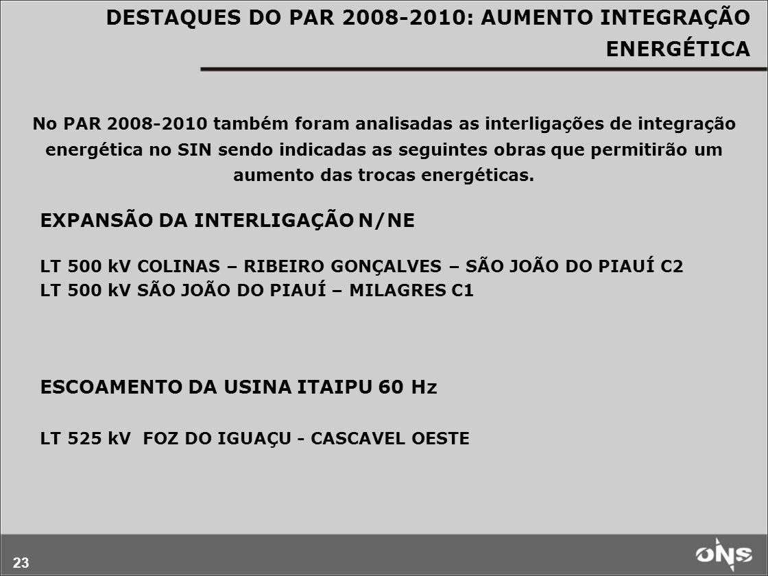 23 DESTAQUES DO PAR 2008-2010: AUMENTO INTEGRAÇÃO ENERGÉTICA No PAR 2008-2010 também foram analisadas as interligações de integração energética no SIN