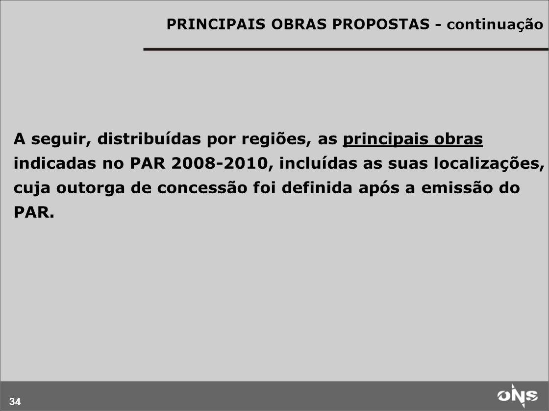 34 PRINCIPAIS OBRAS PROPOSTAS - continuação A seguir, distribuídas por regiões, as principais obras indicadas no PAR 2008-2010, incluídas as suas loca
