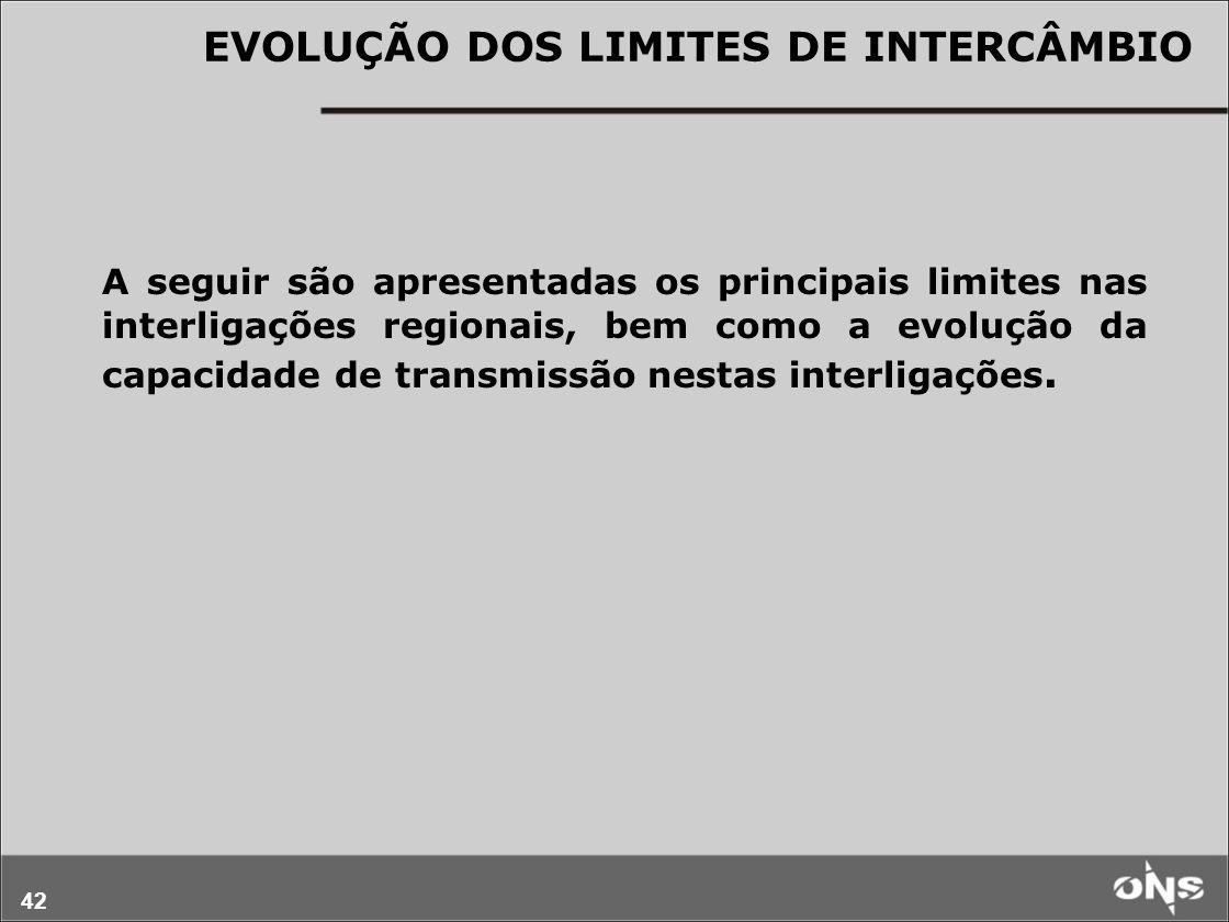 42 A seguir são apresentadas os principais limites nas interligações regionais, bem como a evolução da capacidade de transmissão nestas interligações.