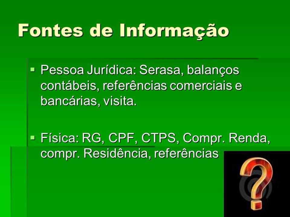Fontes de Informação Pessoa Jurídica: Serasa, balanços contábeis, referências comerciais e bancárias, visita. Pessoa Jurídica: Serasa, balanços contáb