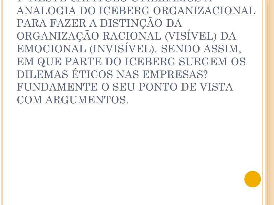 1- NESTE CAPÍTULO UTILIZAMOS A ANALOGIA DO ICEBERG ORGANIZACIONAL PARA FAZER A DISTINÇÃO DA ORGANIZAÇÃO RACIONAL (VISÍVEL) DA EMOCIONAL (INVISÍVEL). S