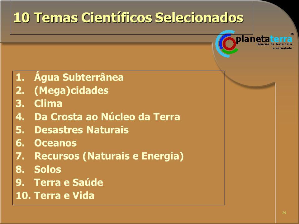 20 10 Temas Científicos Selecionados 1. Água Subterrânea 2. (Mega)cidades 3.Clima 4.Da Crosta ao Núcleo da Terra 5.Desastres Naturais 6.Oceanos 7.Recu