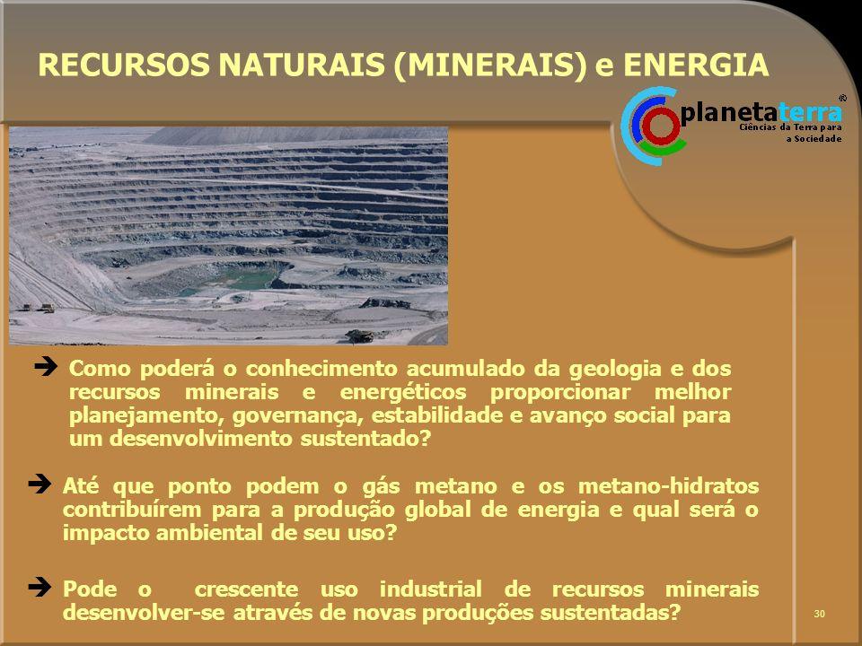 30 RECURSOS NATURAIS (MINERAIS) e ENERGIA Até que ponto podem o gás metano e os metano-hidratos contribuírem para a produção global de energia e qual