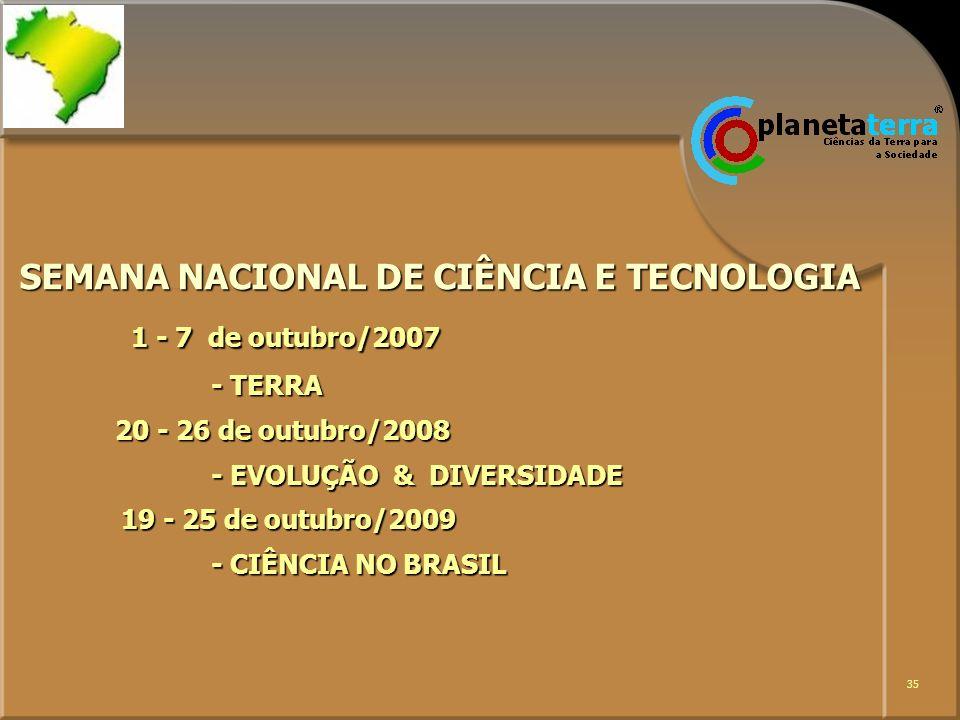 35 SEMANA NACIONAL DE CIÊNCIA E TECNOLOGIA 1 - 7 de outubro/2007 - TERRA 20 - 26 de outubro/2008 - EVOLUÇÃO & DIVERSIDADE 19 - 25 de outubro/2009 - CI