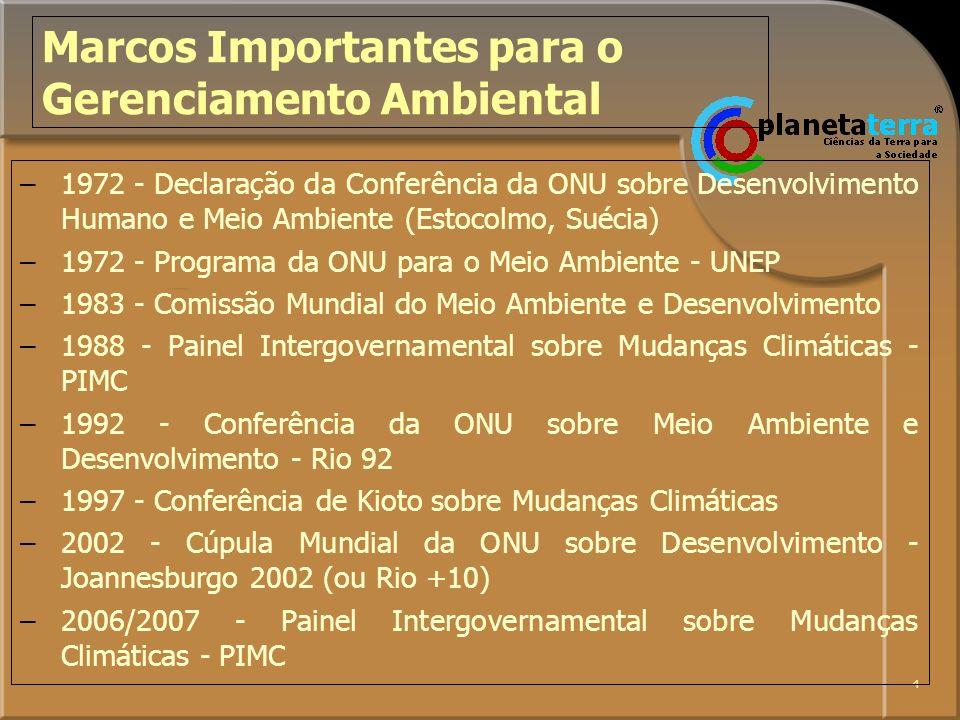 5 1972 –Relações entre Desenvolvimento e Meio Ambiente –Encontros e Conferências sobre temas específicos: A Conferência da ONU sobre Desenvolvimento Humano e Meio Ambiente –Alimentação –Moradia –População