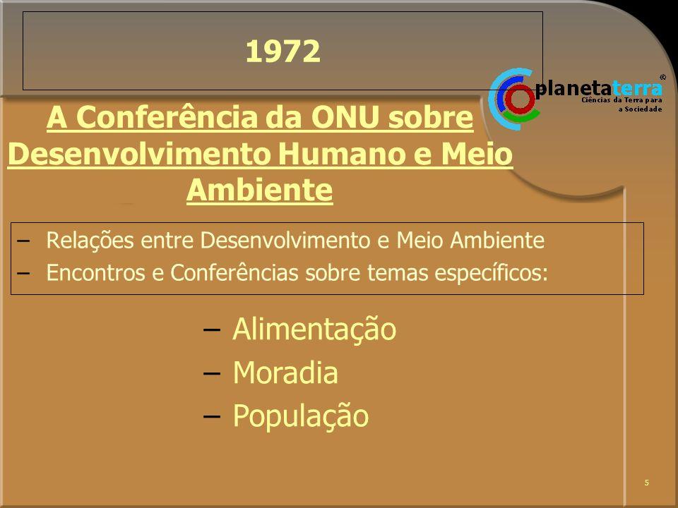 5 1972 –Relações entre Desenvolvimento e Meio Ambiente –Encontros e Conferências sobre temas específicos: A Conferência da ONU sobre Desenvolvimento H