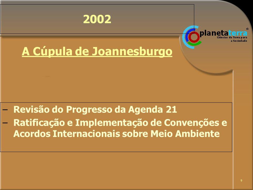 9 2002 –Revisão do Progresso da Agenda 21 –Ratificação e Implementação de Convenções e Acordos Internacionais sobre Meio Ambiente A Cúpula de Joannesb