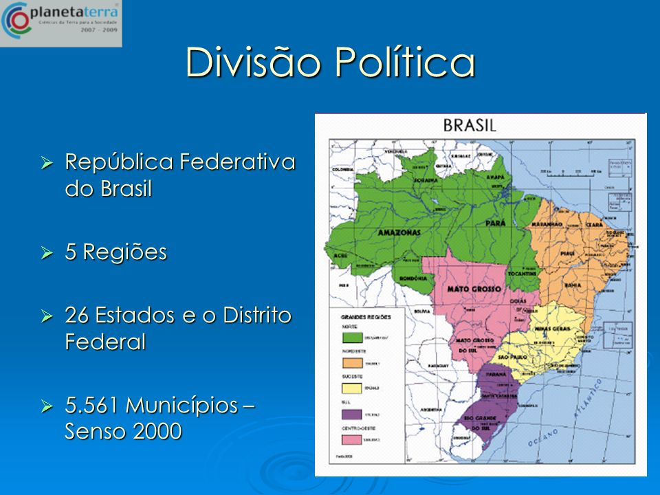 Divisão Política República Federativa do Brasil República Federativa do Brasil 5 Regiões 5 Regiões 26 Estados e o Distrito Federal 26 Estados e o Dist