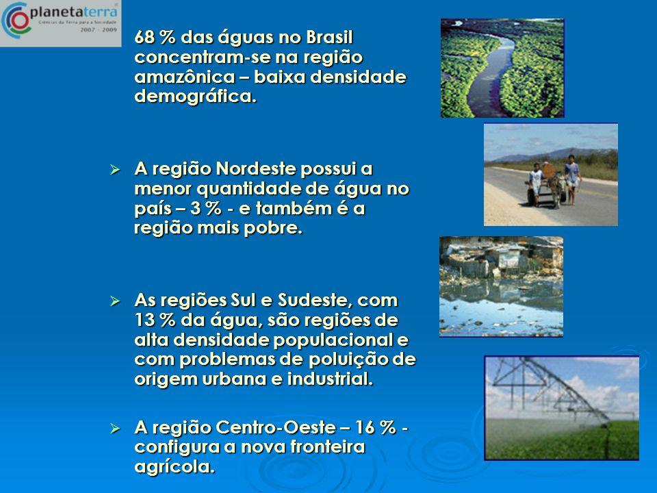 68 % das águas no Brasil concentram-se na região amazônica – baixa densidade demográfica. 68 % das águas no Brasil concentram-se na região amazônica –