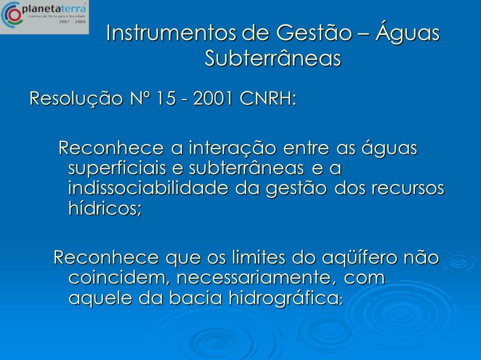 Instrumentos de Gestão – Águas Subterrâneas Resolução Nº 15 - 2001 CNRH: Reconhece a interação entre as águas superficiais e subterrâneas e a indissoc