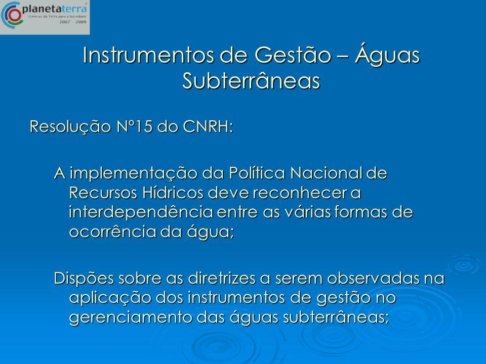 Instrumentos de Gestão – Águas Subterrâneas Resolução Nº15 do CNRH: A implementação da Política Nacional de Recursos Hídricos deve reconhecer a interd