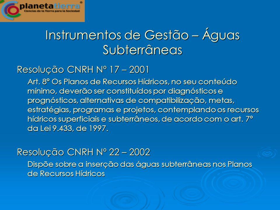Instrumentos de Gestão – Águas Subterrâneas Resolução CNRH Nº 17 – 2001 Art. 8º Os Planos de Recursos Hídricos, no seu conteúdo mínimo, deverão ser co