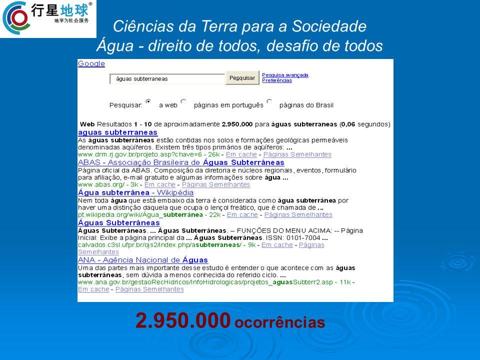 2.950.000 ocorrências Ciências da Terra para a Sociedade Água - direito de todos, desafio de todos