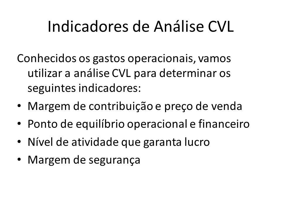 Indicadores de Análise CVL Conhecidos os gastos operacionais, vamos utilizar a análise CVL para determinar os seguintes indicadores: Margem de contrib