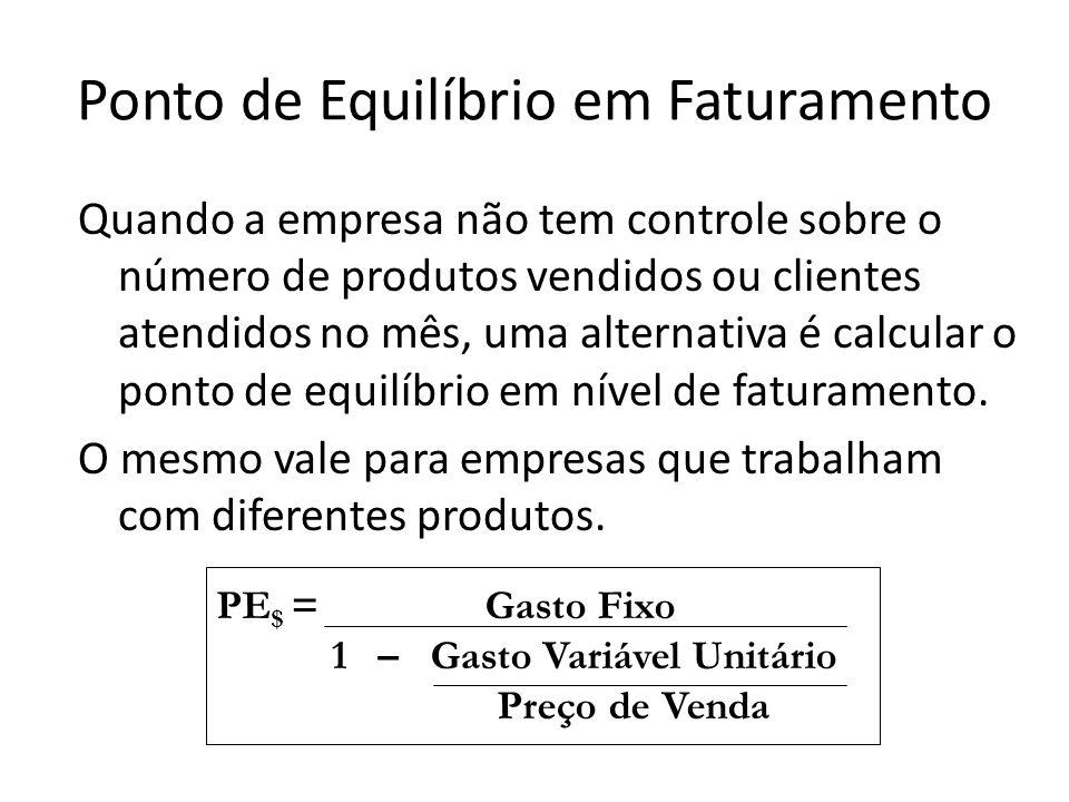 Quando a empresa não tem controle sobre o número de produtos vendidos ou clientes atendidos no mês, uma alternativa é calcular o ponto de equilíbrio e