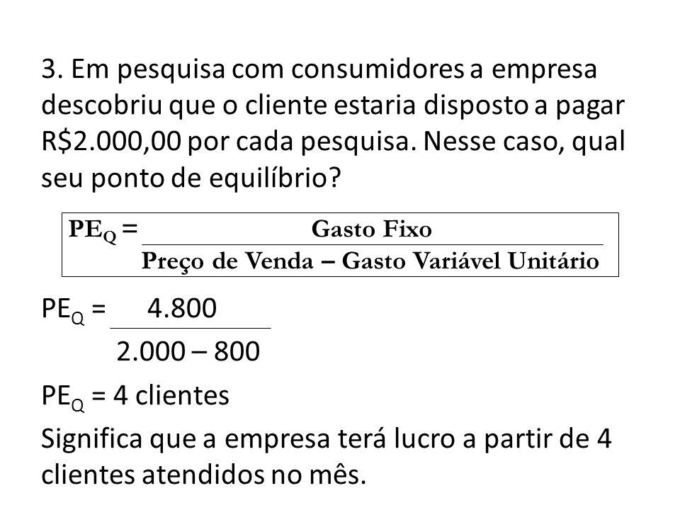 3. Em pesquisa com consumidores a empresa descobriu que o cliente estaria disposto a pagar R$2.000,00 por cada pesquisa. Nesse caso, qual seu ponto de