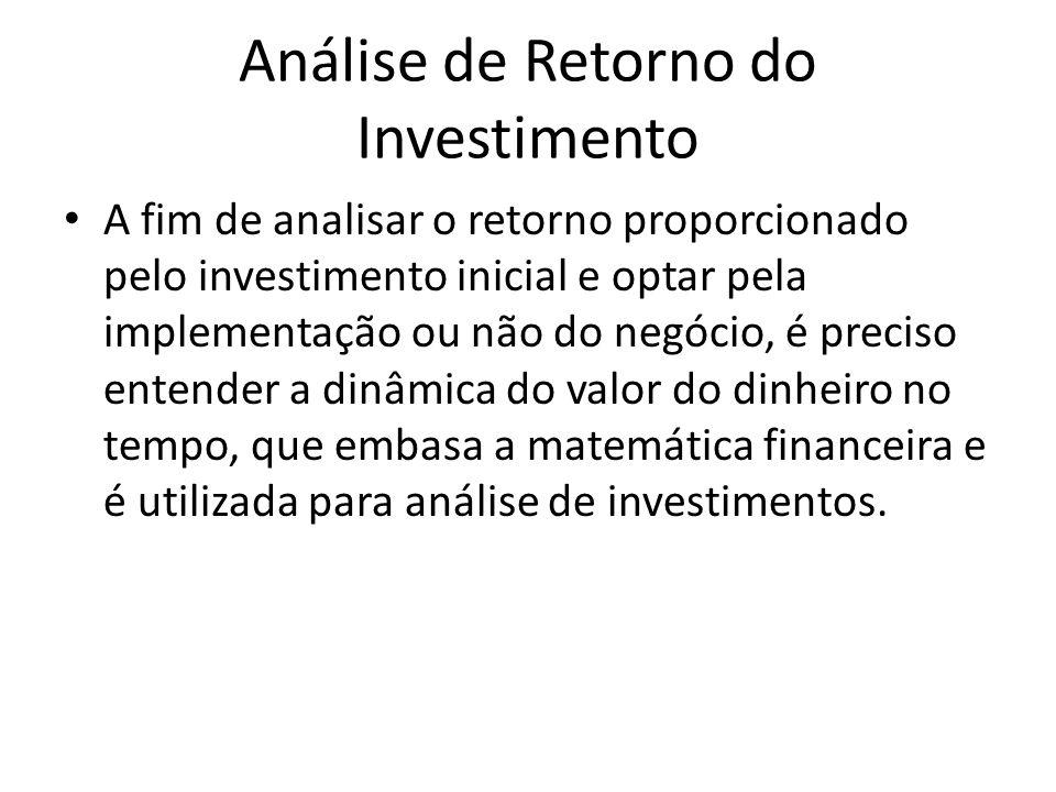 Análise de Retorno do Investimento A fim de analisar o retorno proporcionado pelo investimento inicial e optar pela implementação ou não do negócio, é