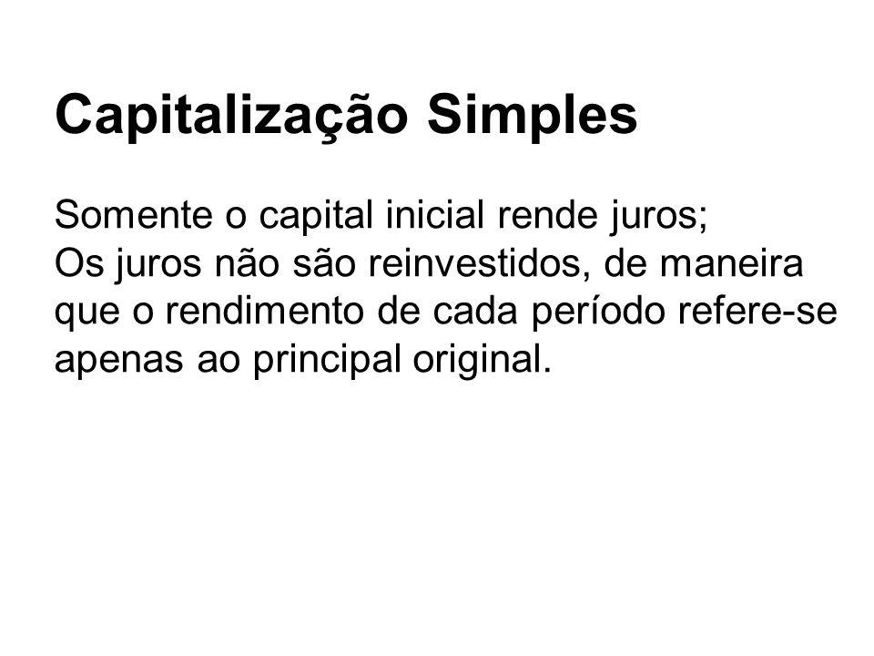 Somente o capital inicial rende juros; Os juros não são reinvestidos, de maneira que o rendimento de cada período refere-se apenas ao principal origin