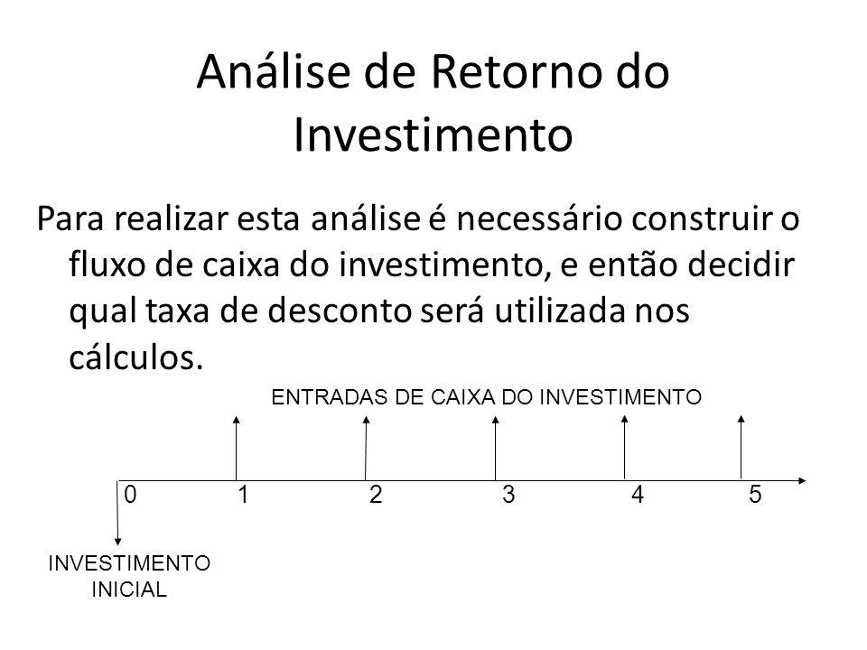 Análise de Retorno do Investimento Para realizar esta análise é necessário construir o fluxo de caixa do investimento, e então decidir qual taxa de de