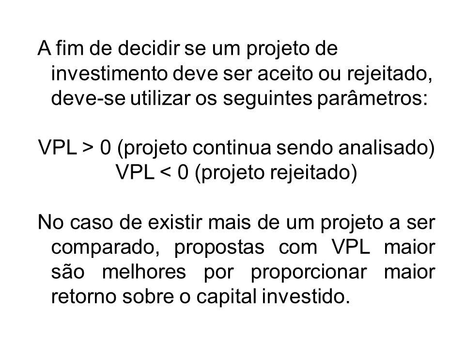 A fim de decidir se um projeto de investimento deve ser aceito ou rejeitado, deve-se utilizar os seguintes parâmetros: VPL > 0 (projeto continua sendo