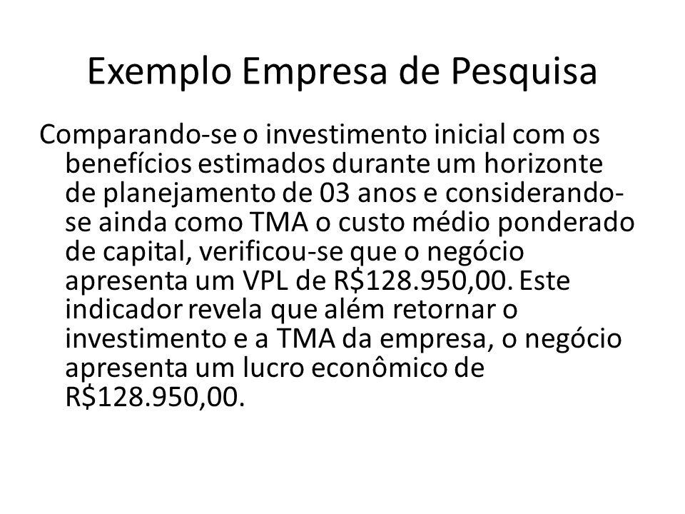 Exemplo Empresa de Pesquisa Comparando-se o investimento inicial com os benefícios estimados durante um horizonte de planejamento de 03 anos e conside