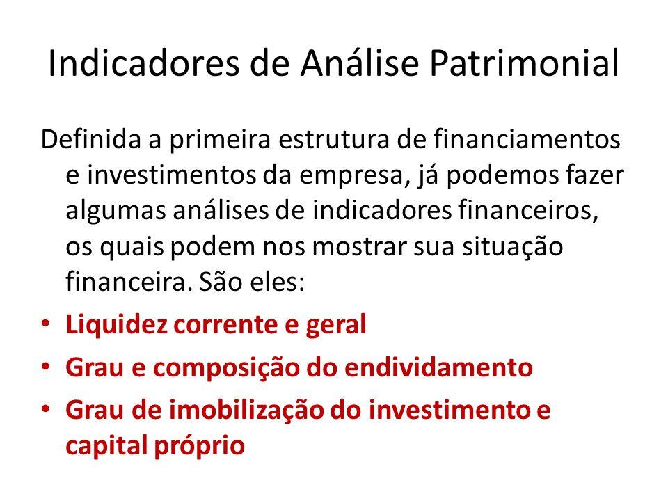 Definida a primeira estrutura de financiamentos e investimentos da empresa, já podemos fazer algumas análises de indicadores financeiros, os quais pod