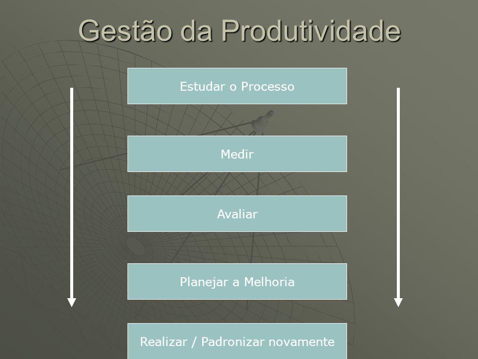 Gestão da Produtividade Estudar o Processo Medir Avaliar Planejar a Melhoria Realizar / Padronizar novamente
