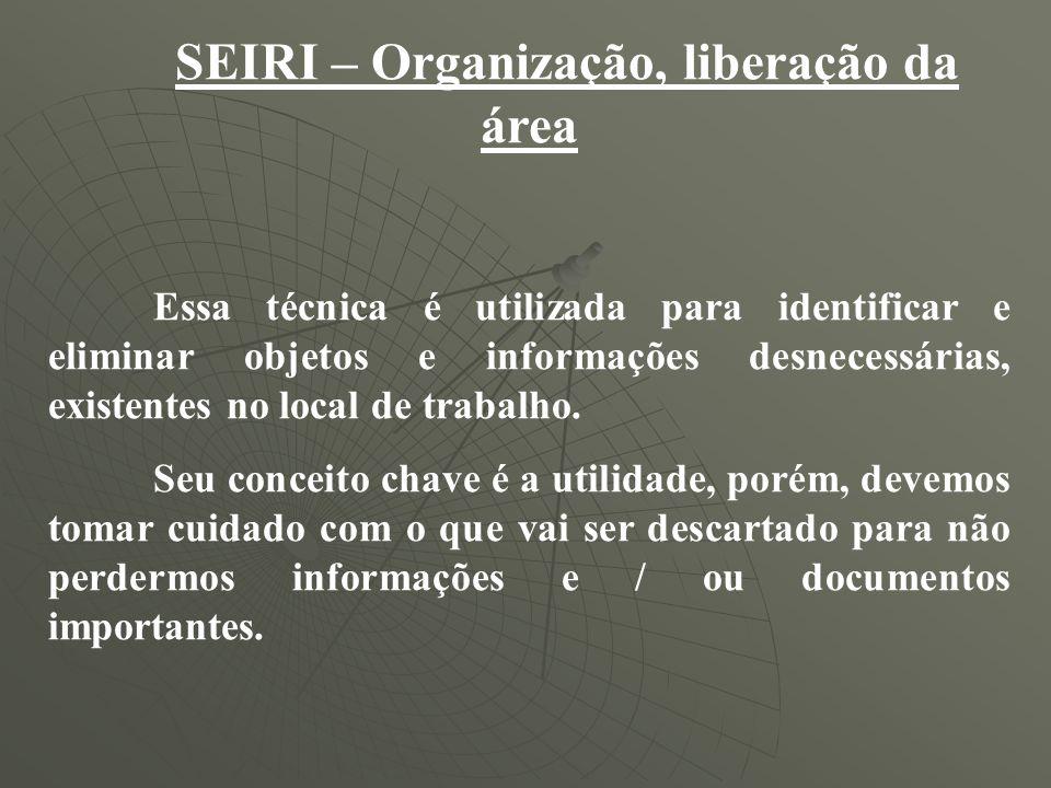 SEIRI – Organização, liberação da área Essa técnica é utilizada para identificar e eliminar objetos e informações desnecessárias, existentes no local