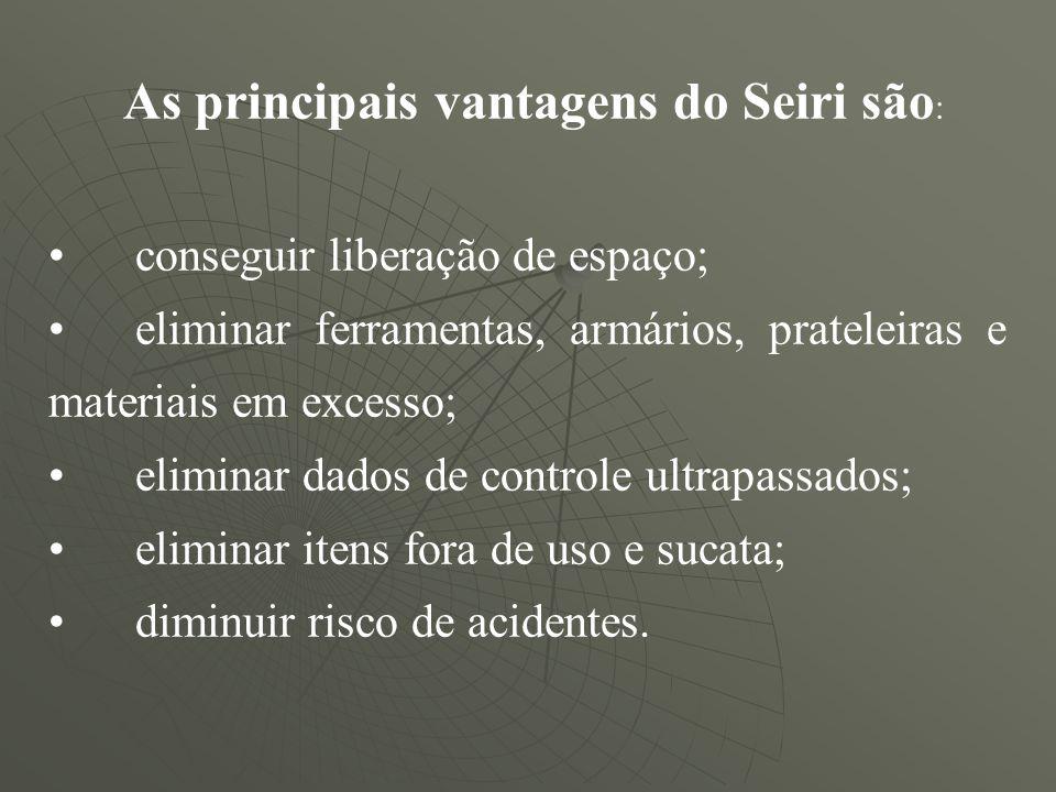 As principais vantagens do Seiri são : conseguir liberação de espaço; eliminar ferramentas, armários, prateleiras e materiais em excesso; eliminar dad