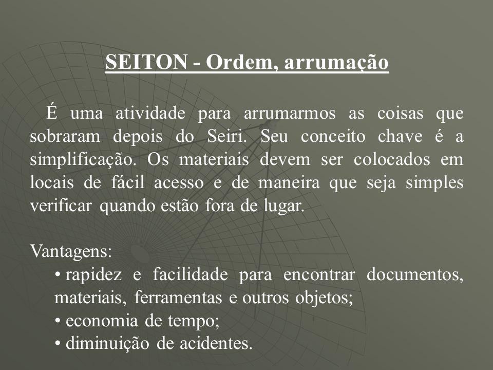 SEITON Ordem, arrumação É uma atividade para arrumarmos as coisas que sobraram depois do Seiri. Seu conceito chave é a simplificação. Os materiais dev