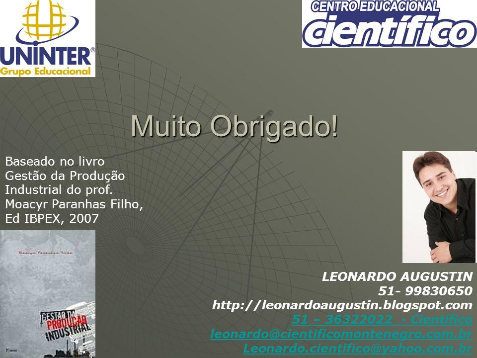 Muito Obrigado! 00:55:30 Baseado no livro Gestão da Produção Industrial do prof. Moacyr Paranhas Filho, Ed IBPEX, 2007 LEONARDO AUGUSTIN 51- 99830650