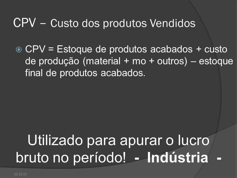 CPV – Custo dos produtos Vendidos CPV = Estoque de produtos acabados + custo de produção (material + mo + outros) – estoque final de produtos acabados