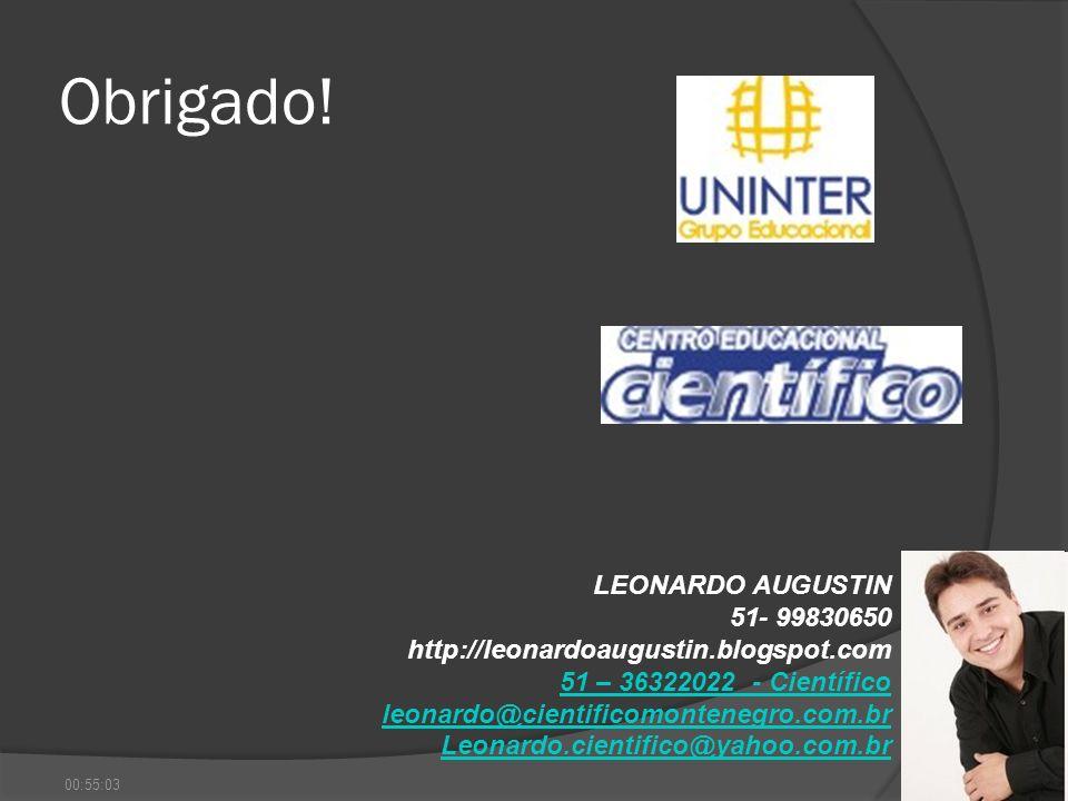Obrigado! LEONARDO AUGUSTIN 51- 99830650 http://leonardoaugustin.blogspot.com 51 – 36322022 - Científico leonardo@cientificomontenegro.com.br Leonardo