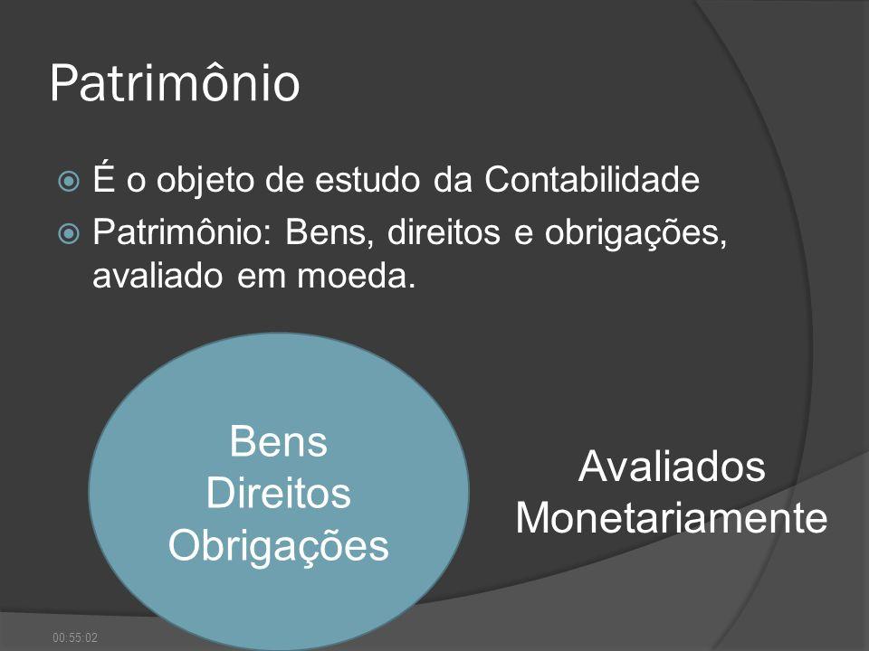 Patrimônio É o objeto de estudo da Contabilidade Patrimônio: Bens, direitos e obrigações, avaliado em moeda. Bens Direitos Obrigações Avaliados Moneta