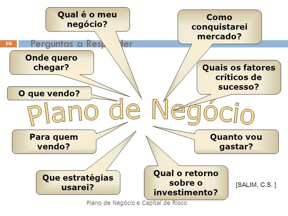 Perguntas a Responder Plano de Negócio e Capital de Risco 10 Qual é o meu negócio? Onde quero chegar? O que vendo? Para quem vendo? Que estratégias us