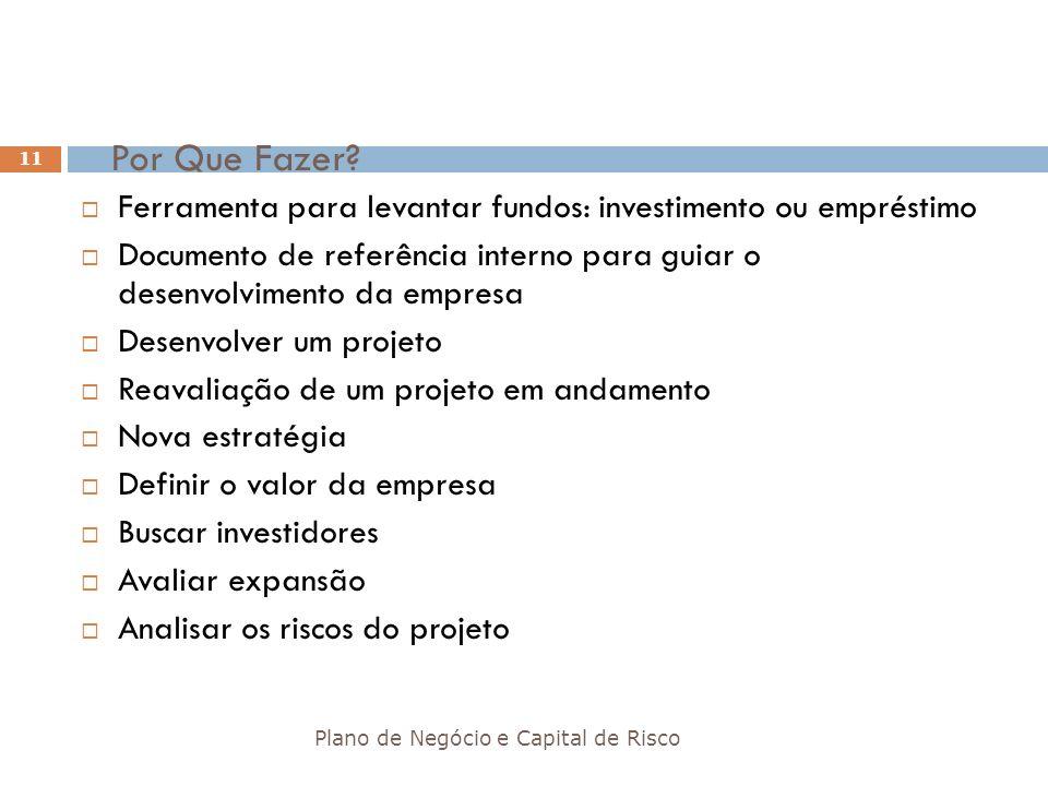 Por Que Fazer? Plano de Negócio e Capital de Risco 11 Ferramenta para levantar fundos: investimento ou empréstimo Documento de referência interno para