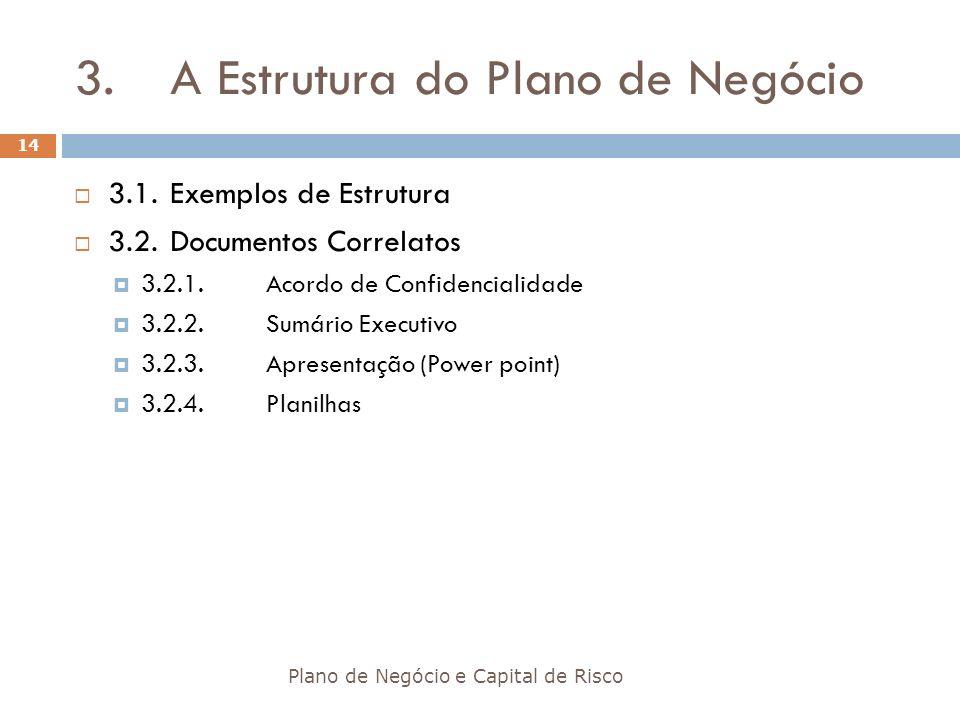 3.A Estrutura do Plano de Negócio Plano de Negócio e Capital de Risco 14 3.1.Exemplos de Estrutura 3.2.Documentos Correlatos 3.2.1.Acordo de Confidenc