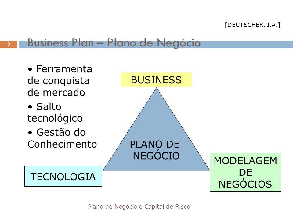 Critérios para Análise de Planos de Negócio INVESTIDORES (Participação)BANCOS (Financiamento) Equipe: excelência gerencialViabilidade do negócio Retorno expressivo sobre o investimento: Fluxo de caixa positivo: cobrir juros + reembolso 5 a 10 vezesBoa disciplina gerencial: geral e financeira Vantagem competitiva: característica única Plano de negócio sensato Regras de saída clarasBoa comunicação Influência na gestão do negócioInformação regular e confiável Participação no capital da empresa Franqueza Plano de Negócio e Capital de Risco 63 [PAVANI, C.]
