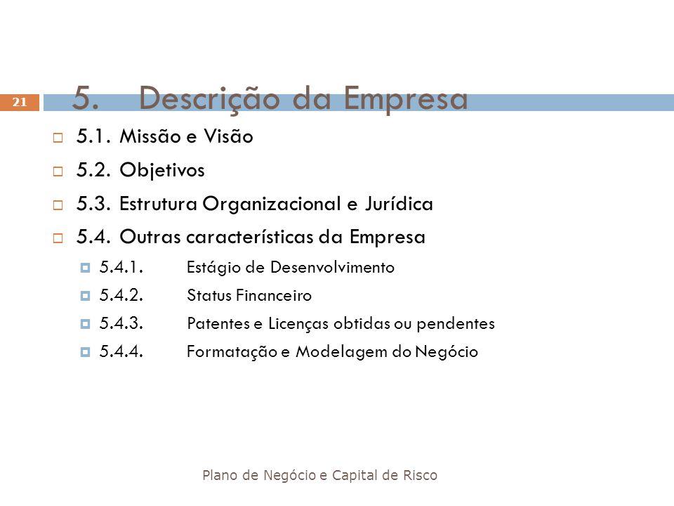 5.Descrição da Empresa Plano de Negócio e Capital de Risco 21 5.1.Missão e Visão 5.2.Objetivos 5.3.Estrutura Organizacional e Jurídica 5.4.Outras cara