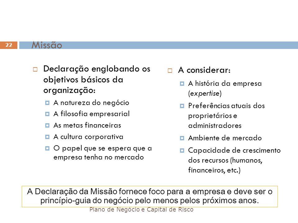 Missão Declaração englobando os objetivos básicos da organização: A natureza do negócio A filosofia empresarial As metas financeiras A cultura corpora