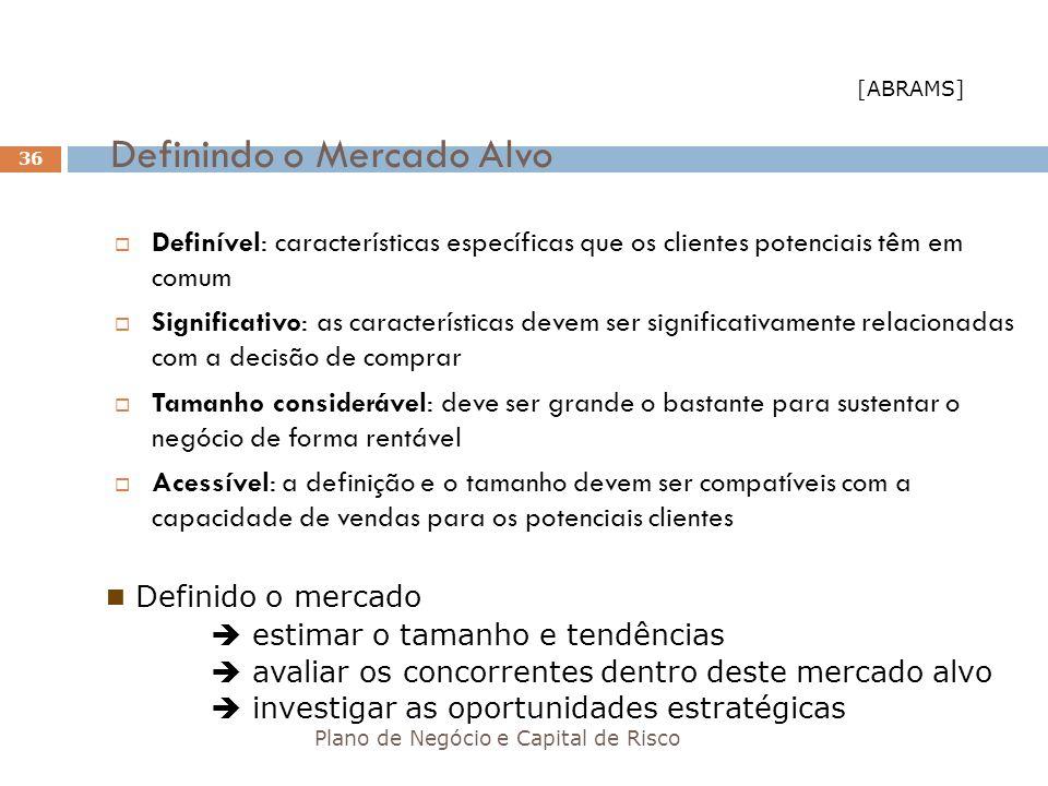 Definindo o Mercado Alvo Plano de Negócio e Capital de Risco 36 Definível: características específicas que os clientes potenciais têm em comum Signifi