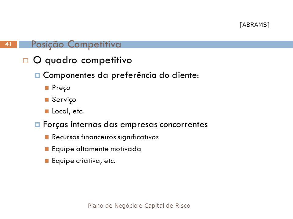 Posição Competitiva Plano de Negócio e Capital de Risco 41 O quadro competitivo Componentes da preferência do cliente: Preço Serviço Local, etc. Força