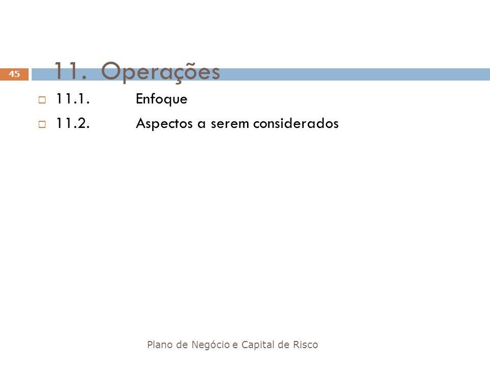 11.Operações Plano de Negócio e Capital de Risco 45 11.1.Enfoque 11.2.Aspectos a serem considerados